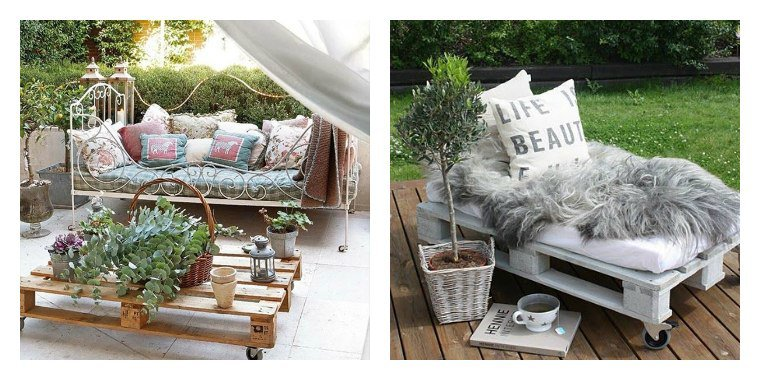 Petit salon de jardin en palette for Salon jardin palette